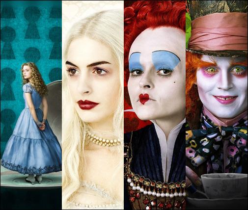 Mia Wasikowska, Anne Hathaway, Helena Bonham Carter e Johnny Depp
